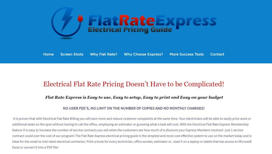flat rate pricing, electrical price guide, electrical app